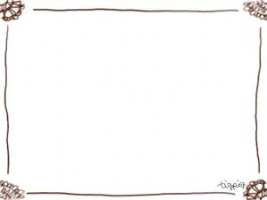 フリー素材:フレーム;ガーリーで大人可愛い茶色のレース飾り風のイラスト素材