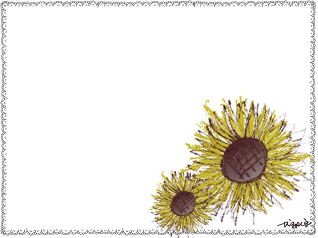 フリー素材花のフレーム;大人かわいいひまわりとガーリーな手描きのレースのイラスト