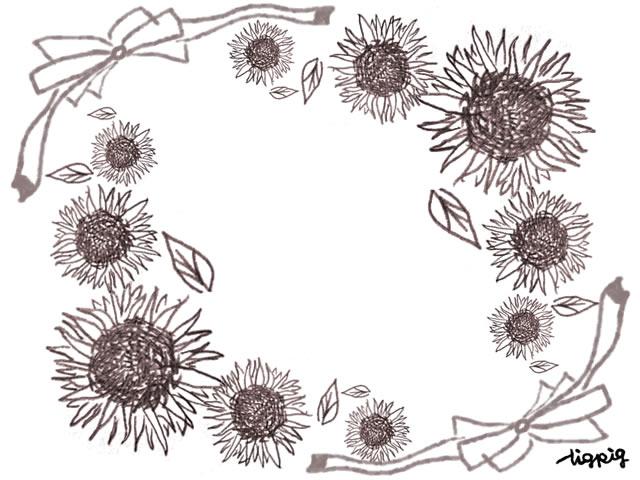 夏のフリー素材フレーム;大人可愛いひまわりのいっぱいのイラストとガーリーなリボン;640×480pix