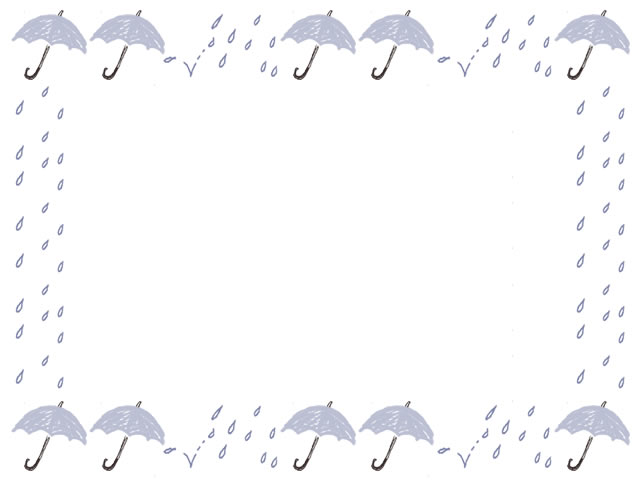 6月のwebデザイン バナー広告 ネットショップのフリー素材 大人可愛い雨と水色の傘と破線の囲み枠のイラストのフレーム 640 480pix ネットショップ制作などに使える約5000点のwebデザイン素材 Tigpig
