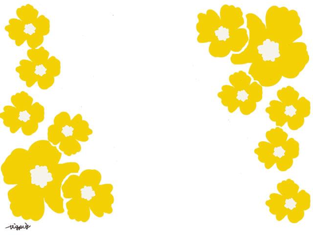 ホームページ ネットショップ Web制作のwebデザイン素材 大人可愛い黄色の南国風の花のフレームのフリー素材 640 480pix ネットショップ制作などに使える約5000点のwebデザイン素材 Tigpig