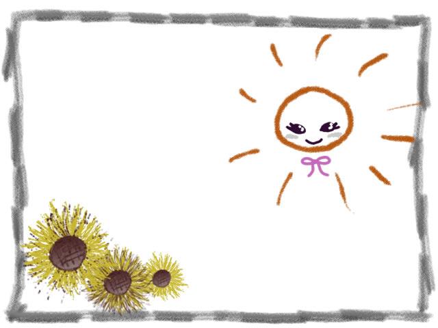 夏の花のフリー素材ガーリーな太陽と大人かわいいヒマワリと
