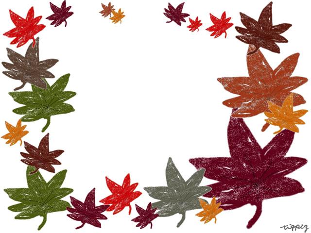 秋のフリー素材もみじのフレームカラフルだけどちょっとかすれ