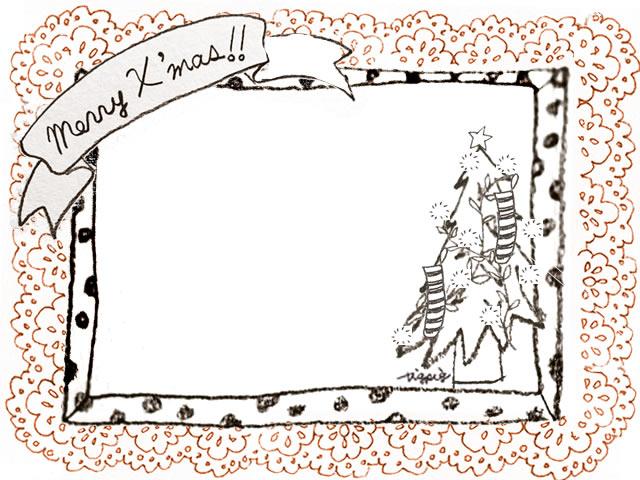 フリー素材 フレーム モノクロのクリスマスツリーとmerryx Masの手書き文字のリボンと水玉のフレームとオレンジのレース 640 480pix ネットショップ制作などに使える約5000点のwebデザイン素材 Tigpig