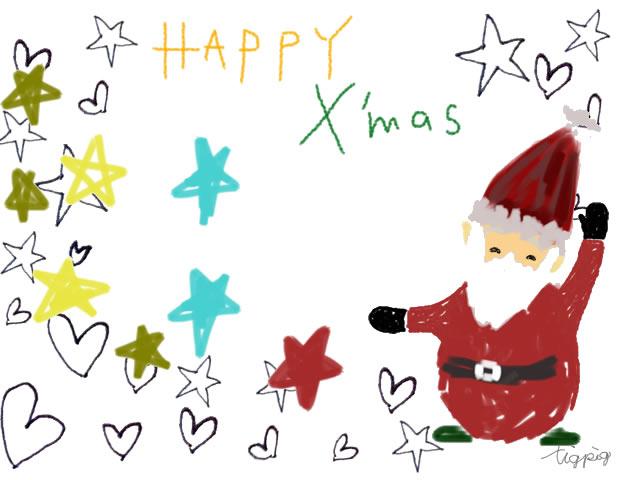 クリスマスのフリー素材ポップなサンタクロースと水玉とhappyx
