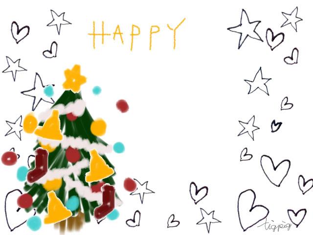 ガーリーなクリスマスのフリー素材クリスマスツリーと星と